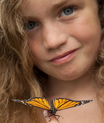 A young girl presents her Monarch Butterfly during a butterfly release in Minnesota.